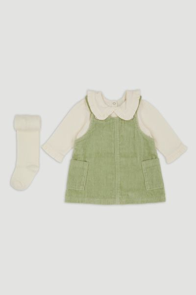3 Piece Green Cord Pinafore Dress set