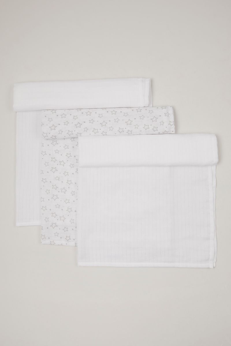 3 Pack White Muslin squares