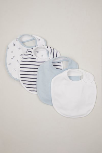 4 pack blue & white bibs