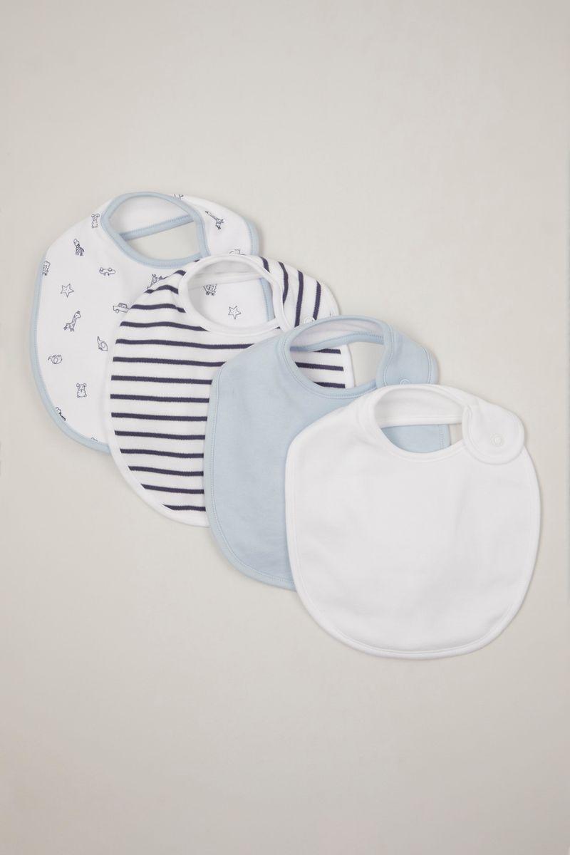 4 pack blue & white bibs