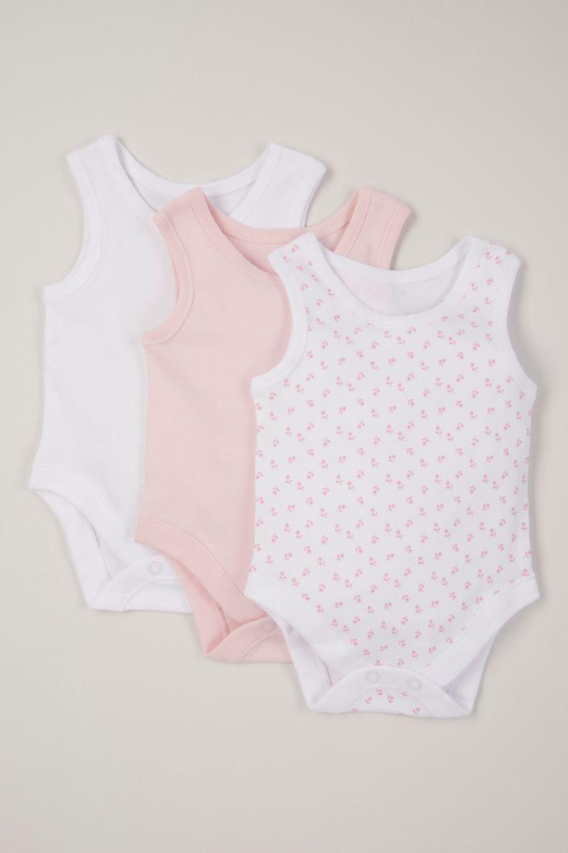 3 pack pink sleeveless bodysuits
