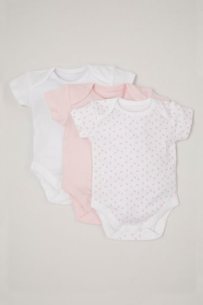 3 Pack Pink Short Sleeve Bodysuits