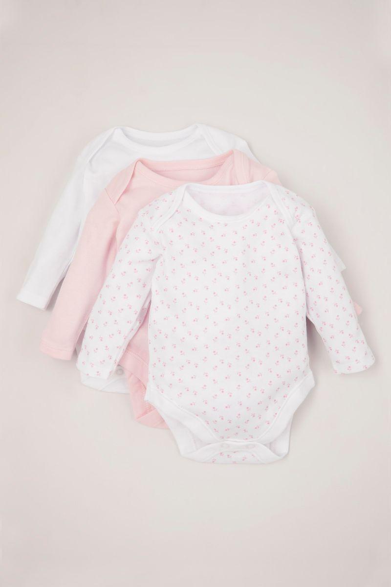 3 Pack Pink Long Sleeve Bodysuits