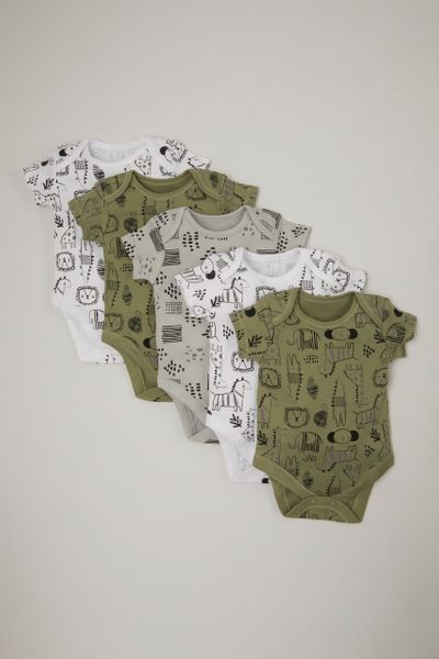 5 Pack Khaki Animal bodysuits