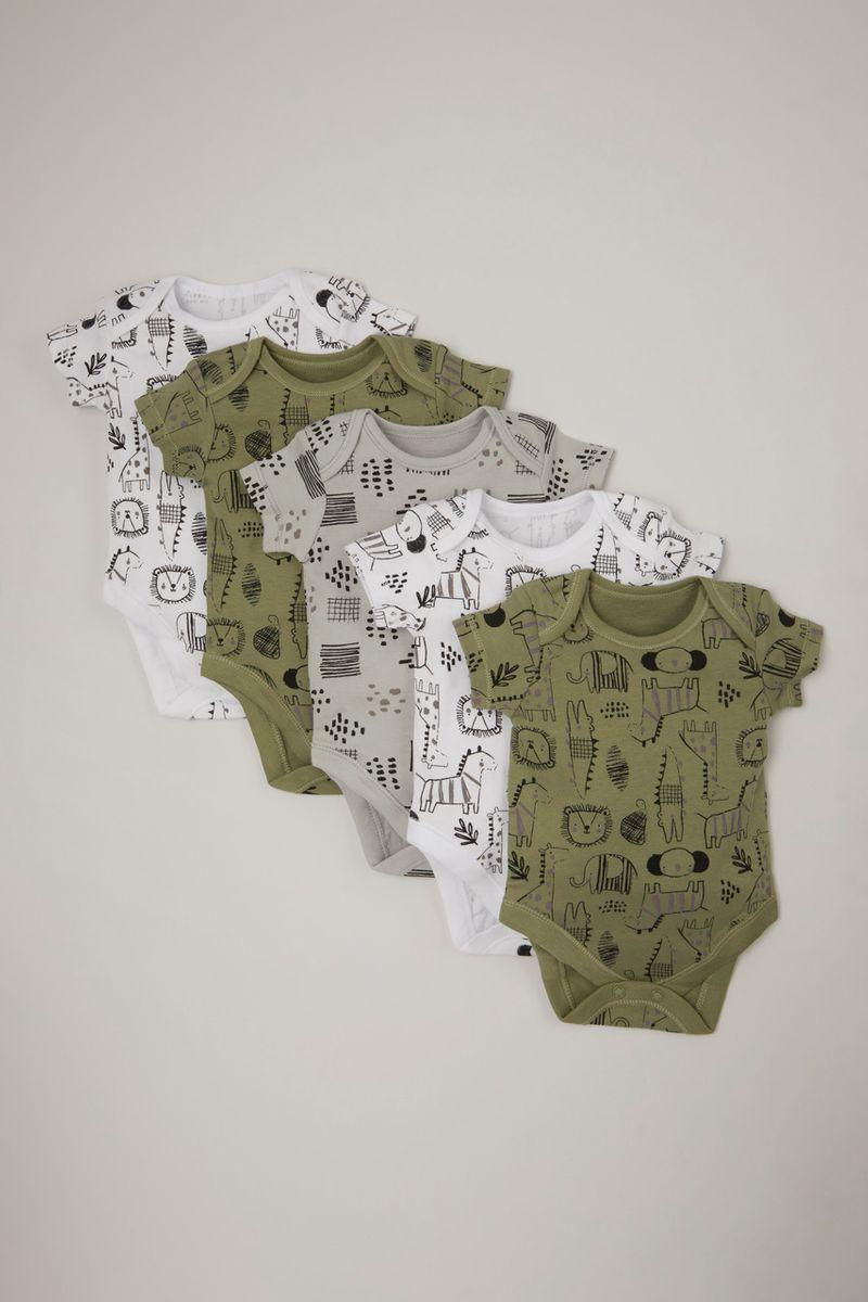 5 Pack Khaki Animal bodysuits
