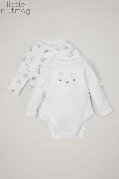Little Nutmeg 2 Pack White bodysuits