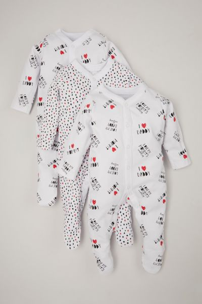 3 Pack Mummy & Daddy Sleepsuits