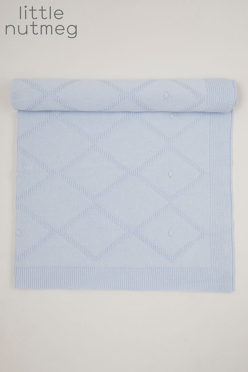 Little Nutmeg Blue Diamond Knit blanket