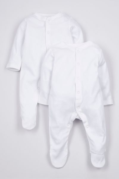 2 Pack White sleepsuits