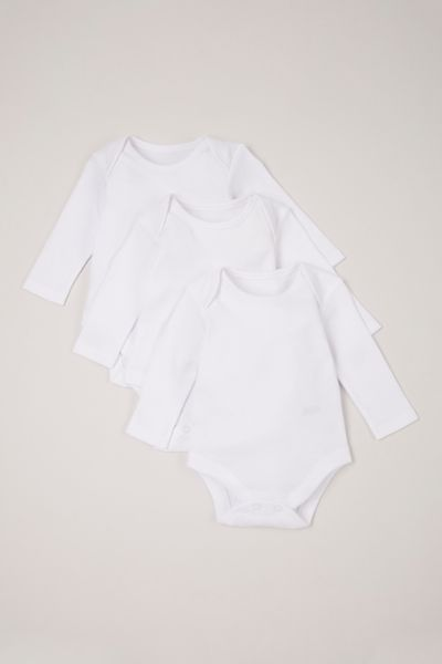 3 Pack White Long Sleeve Bodysuits