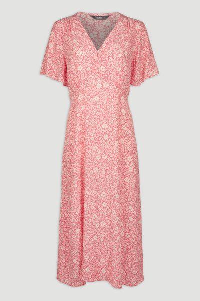 Coral Floral Midi Tea Dress