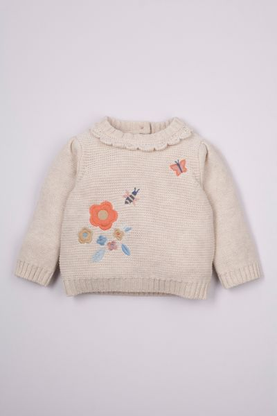 Oatmeal Embroidered jumper