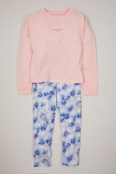 Pink Sweatshirt & Flower leggings