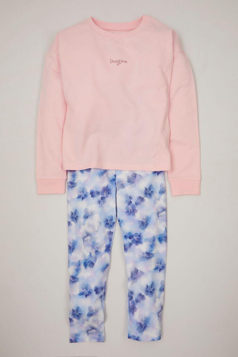 Pink Sweatshirt & Flower leggings