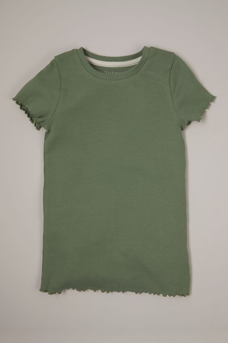 Khaki Ribbed T-shirt 3-14yrs