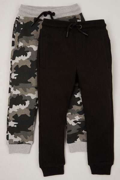 2 Pack Camo & Black Joggers
