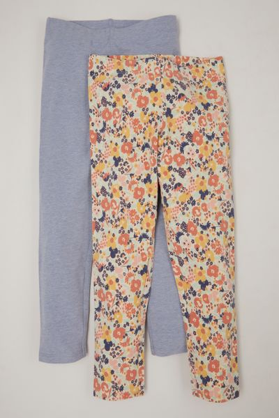 2 Pack Blue & Flower leggings
