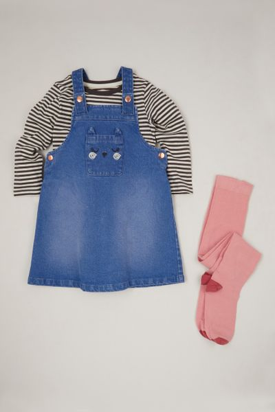 3 Piece Stripe Top & Pinafore Dress Set