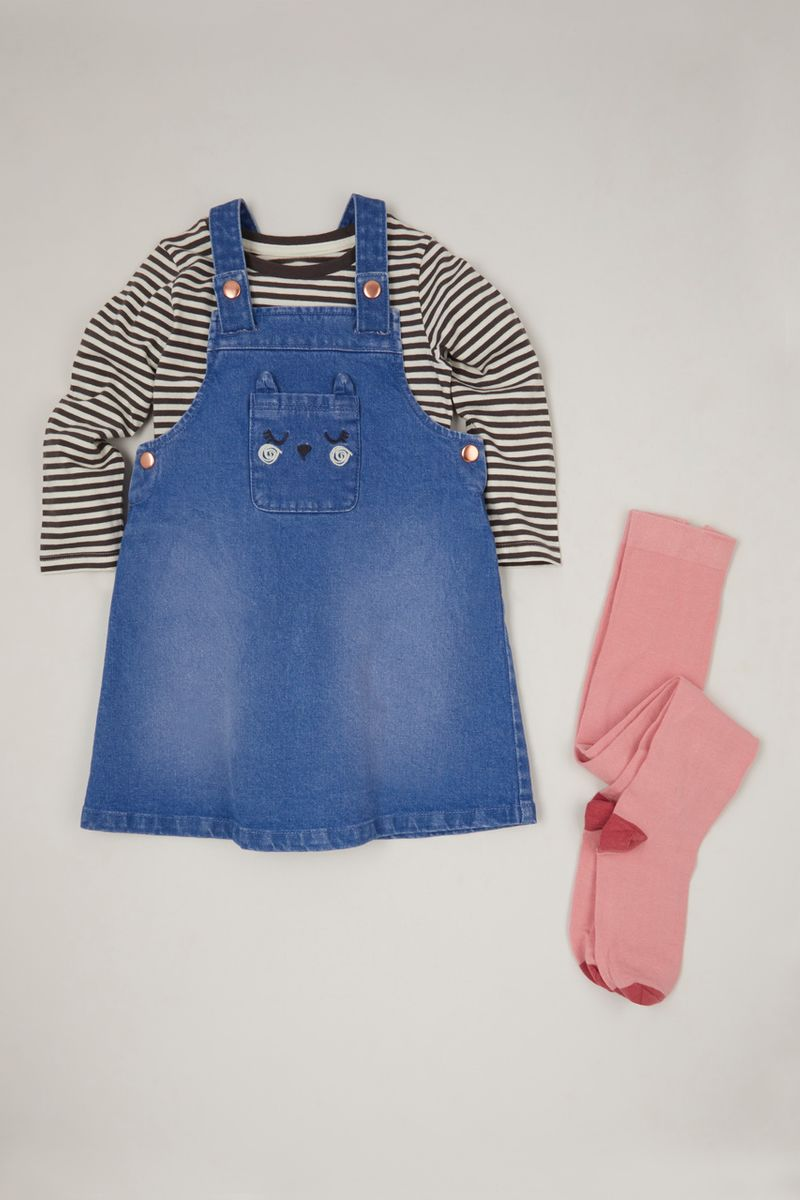 3 Piece Stripe Top & Pinafore Dress Set