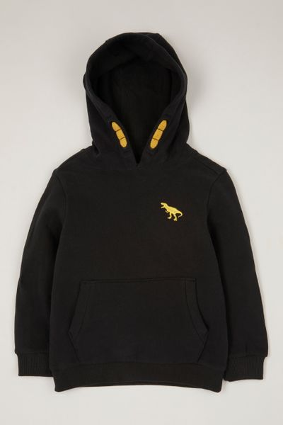 Black Dino Embroidered Hoodie 1-10 yrs