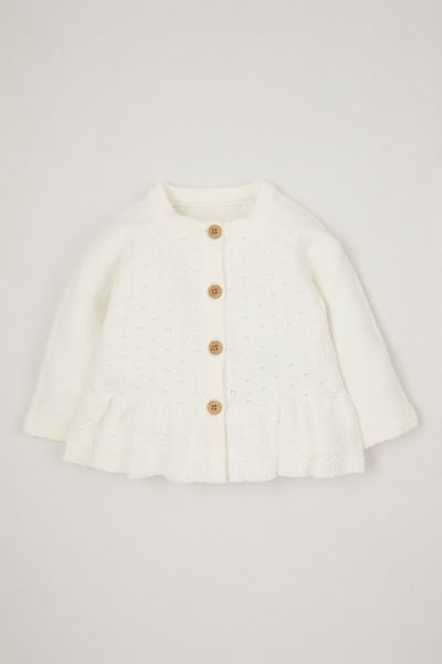 Cream Peplum cardigan