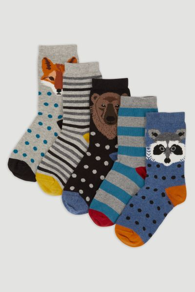 5 Pack Autumn Woodland Socks