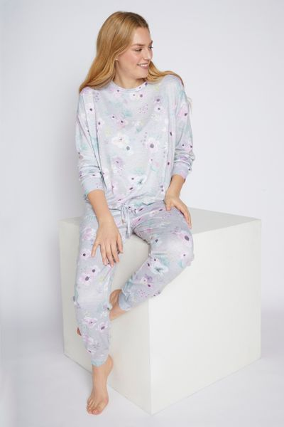 Grey Marl Floral Pyjamas