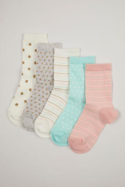 5 Pack Pastel Glitter Socks