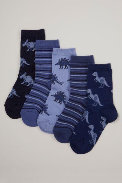 5 Pack Blue Dino Socks