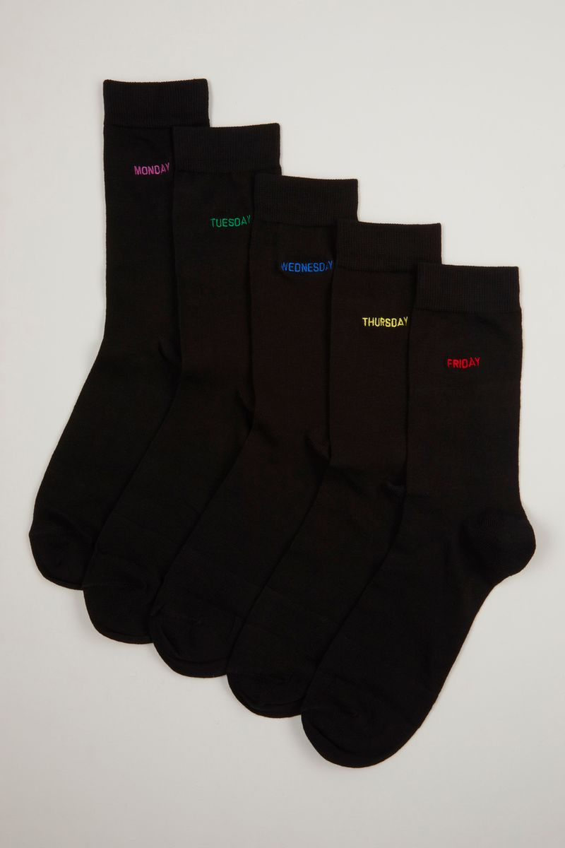 5 Pack Days Of The Week Embroidered Socks