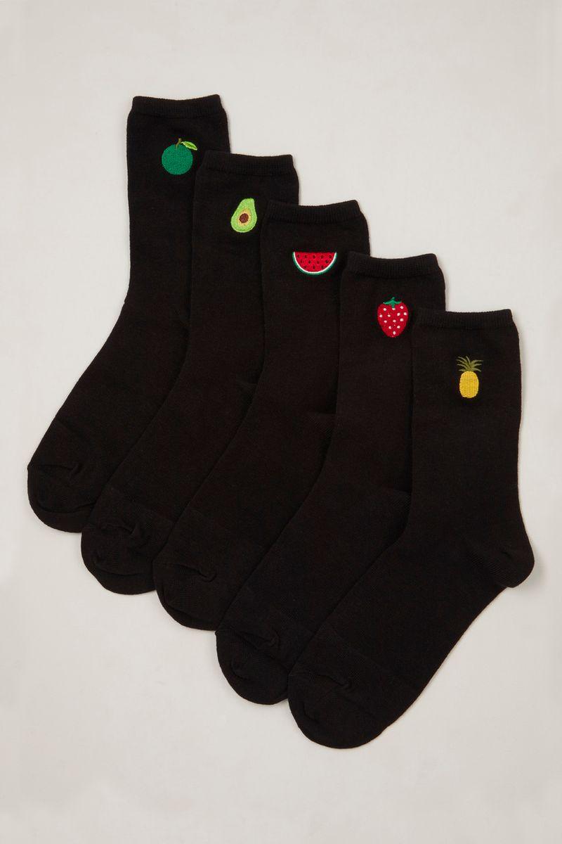 5 Pack Fruit Embroidered Socks
