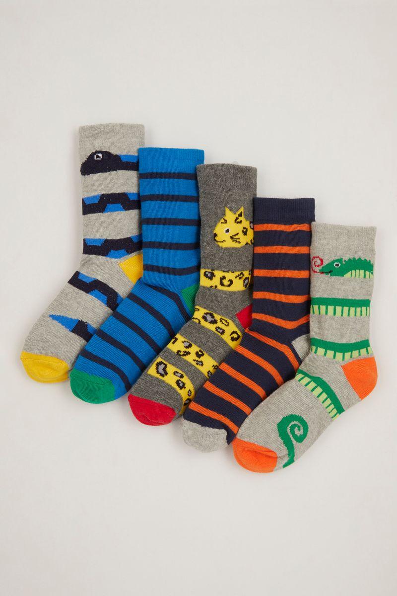 5 Pack Animal Print Stripe Socks