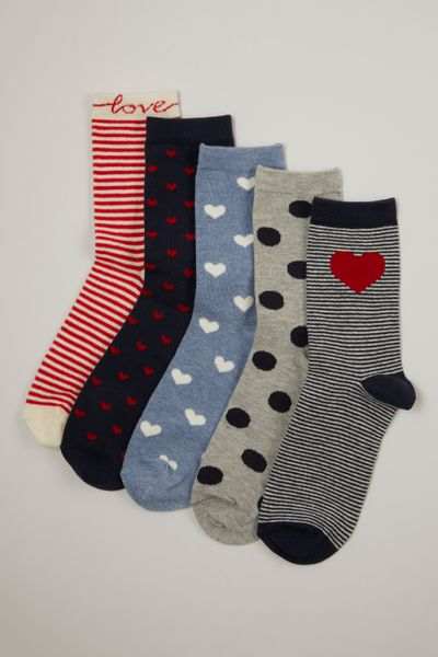 5 Pack Nautical Hearts Socks