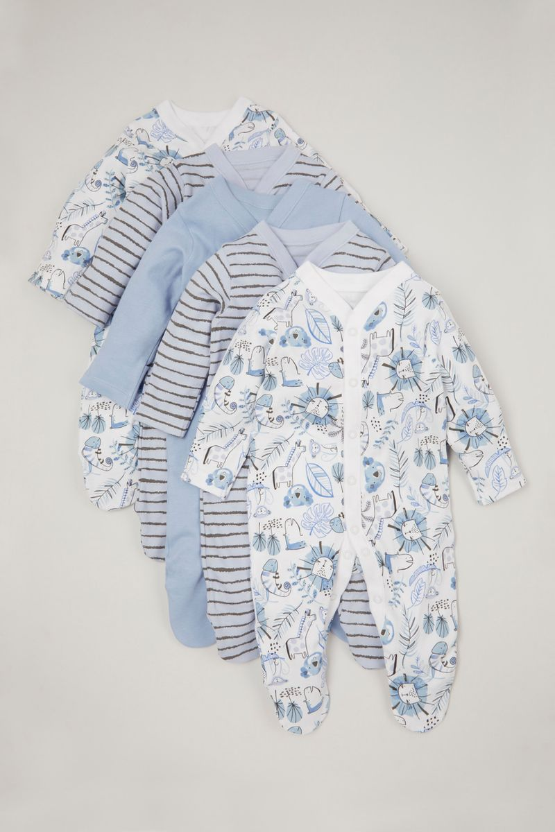Online Exclusive 5 Pack Blue Lion sleepsuits