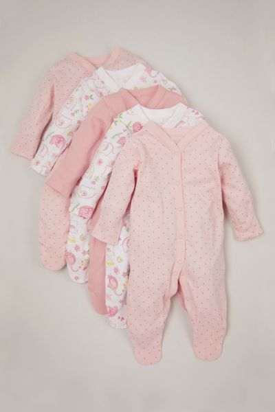 Online Exclusive 5 Pack Pink Flower sleepsuits