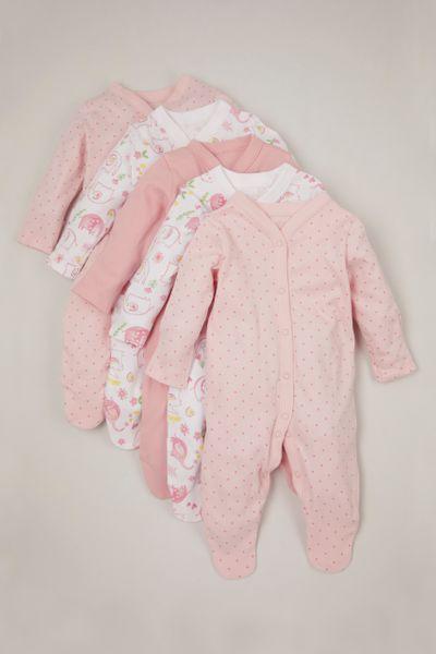 Online Exclusive 5 Pack Pink Flower sleepsuits