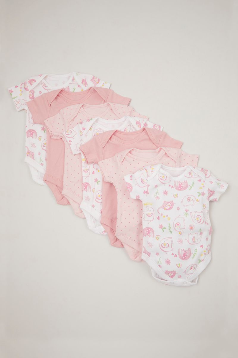 Online Exclusive 7 Pack Pink Elephant Bodysuits
