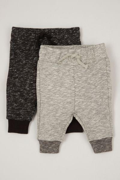 2 pack black & grey marl joggers