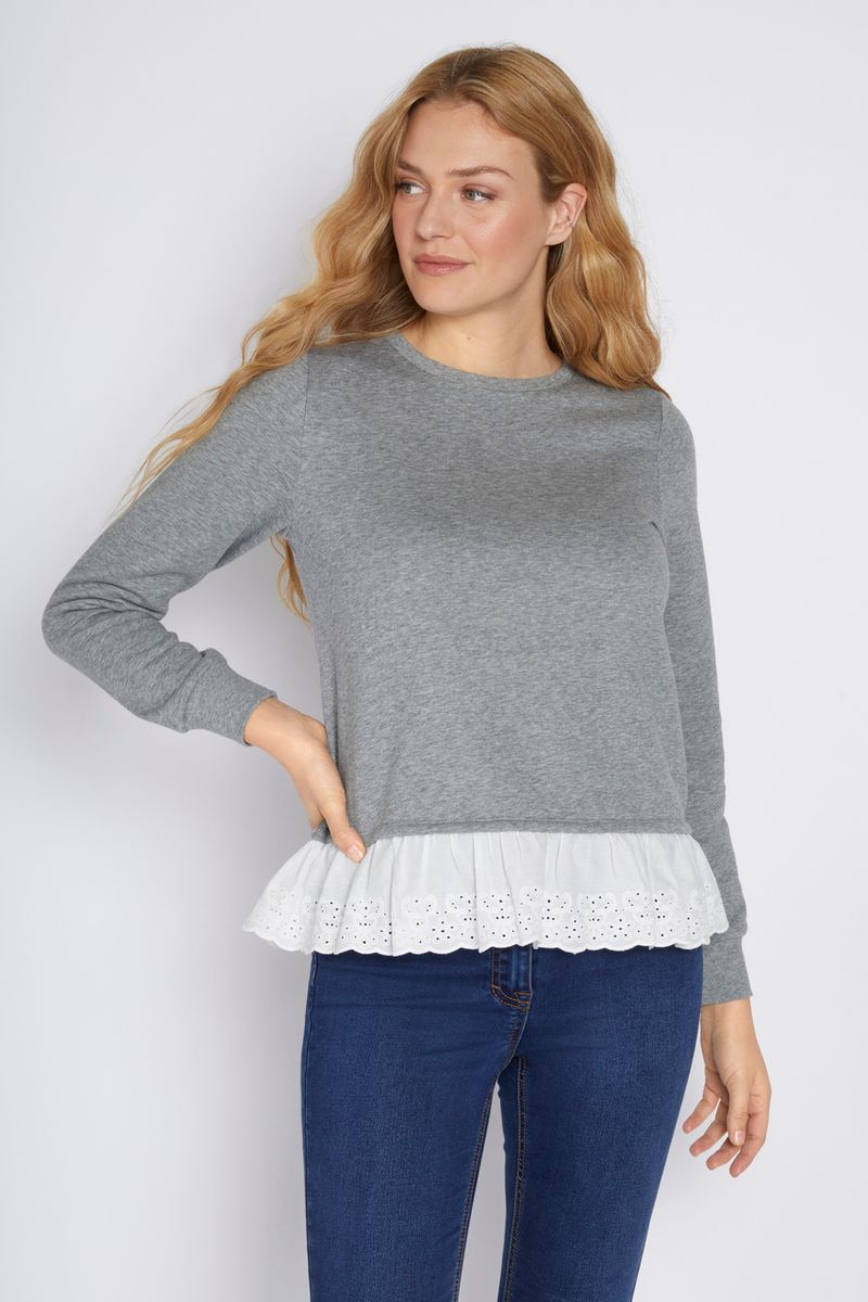 Grey Broderie Trim Sweatshirt