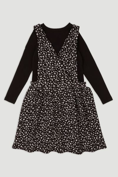 Black Spot Wrap Pinafore Dress set
