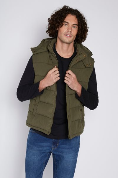 Khaki Hooded gilet