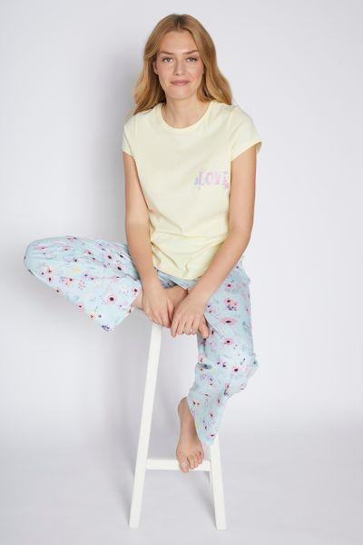 Blue Floral Slogan Print Pyjamas