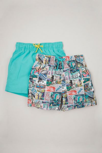 2 Pack Graffiti Print Swim Shorts 3-14yrs
