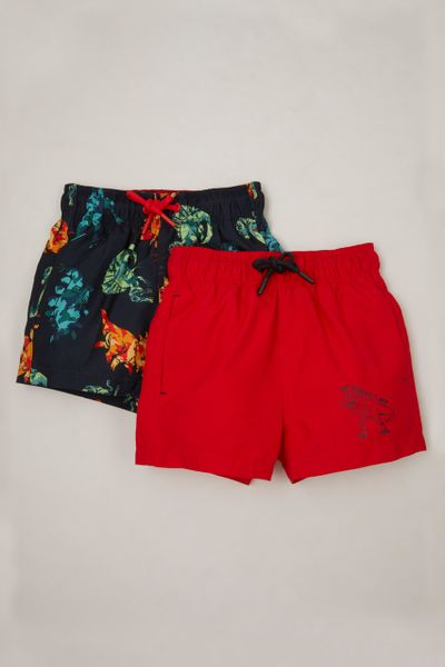 2 Pack Camo Dino Swim Shorts