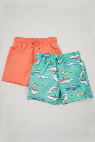 2 Pack Shark Swim Trunks 1-10 yrs