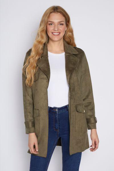 Khaki Suedette Duster Coat