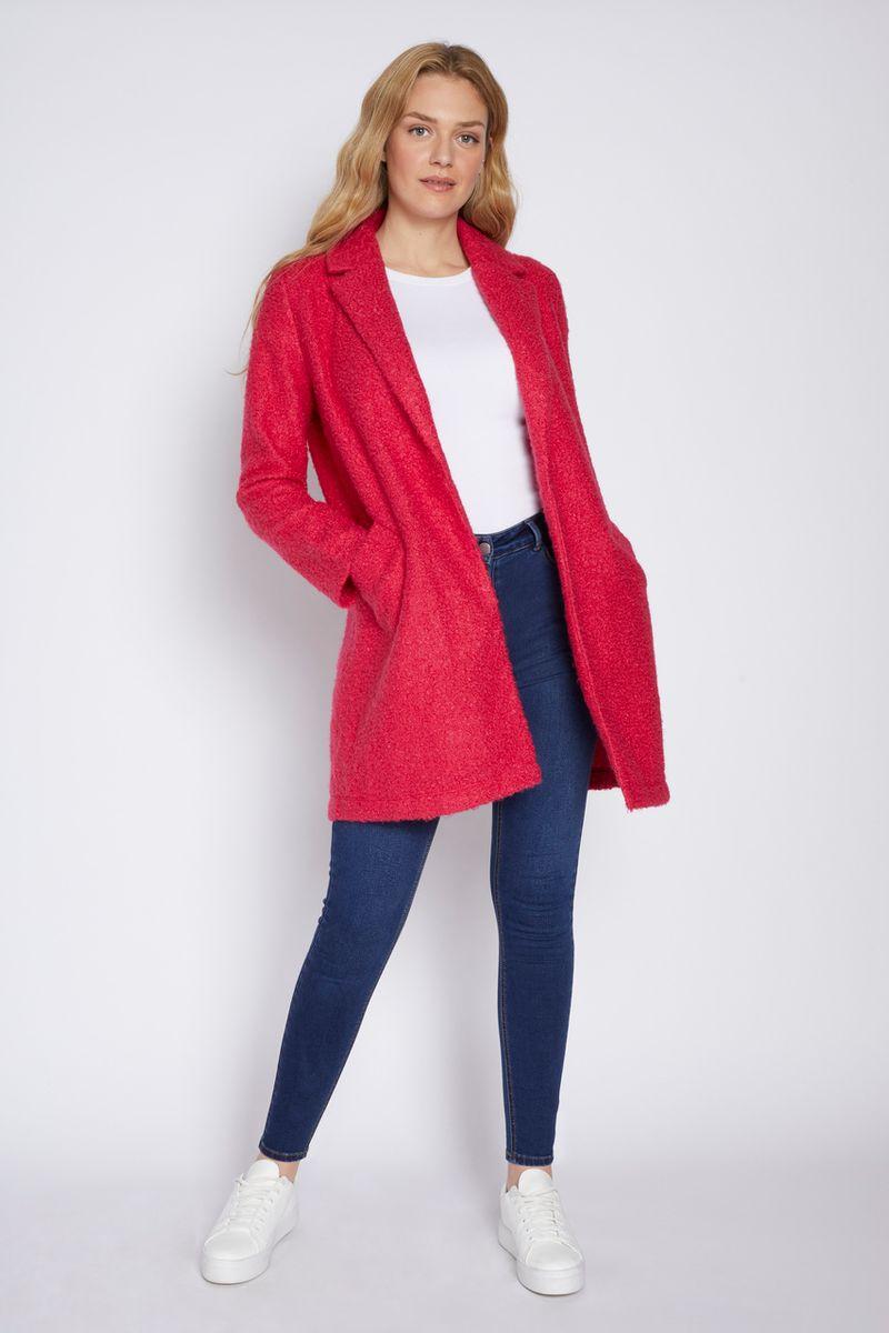 Online Exclusive Pink Boucle Duster Coat