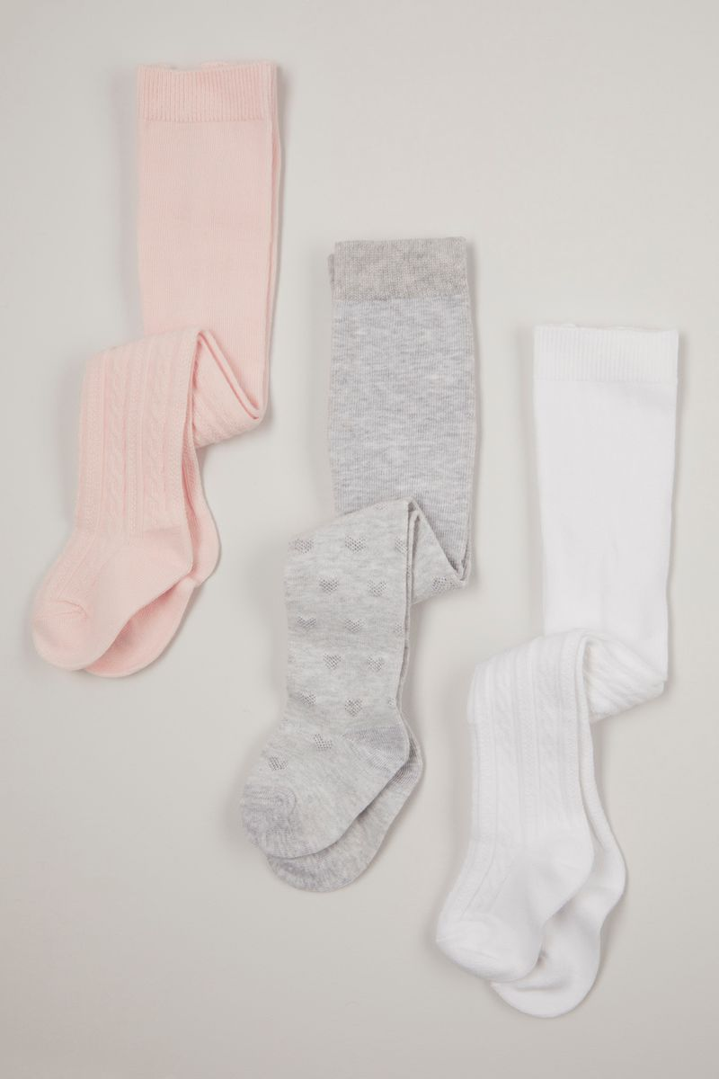 3 Pack Pink & Grey Tights