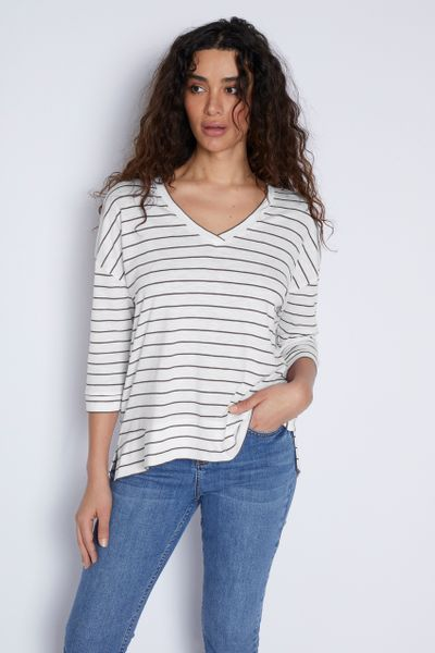 3/4 Sleeve Black Stripe T-shirt