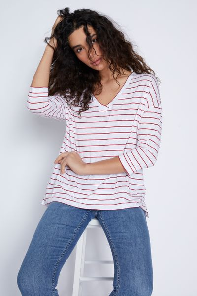 3/4 Sleeve Red Stripe T-shirt